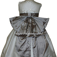 Wolf Gray and Antique White flower girl dresses Style 345 by Pegeen