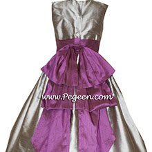 Custom Gray and Purple flower girl dresses in WOLF GRAY AND THISTLE (PURPLE) from Pegeen