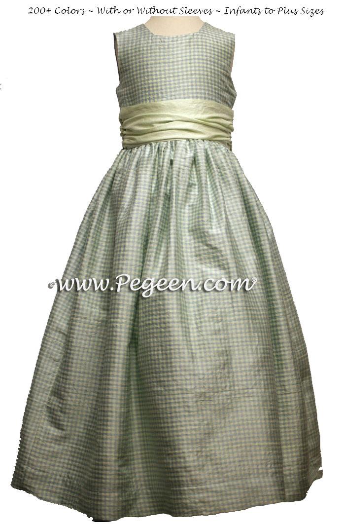 Custom blue and mint green flower girl dress in silk