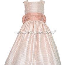 Custom Peach and Antique White Gingham Silk FLOWER GIRL DRESSES Style 346