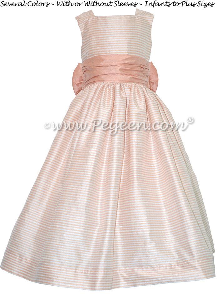 Custom Peach and Antique White flower girl dress in silk