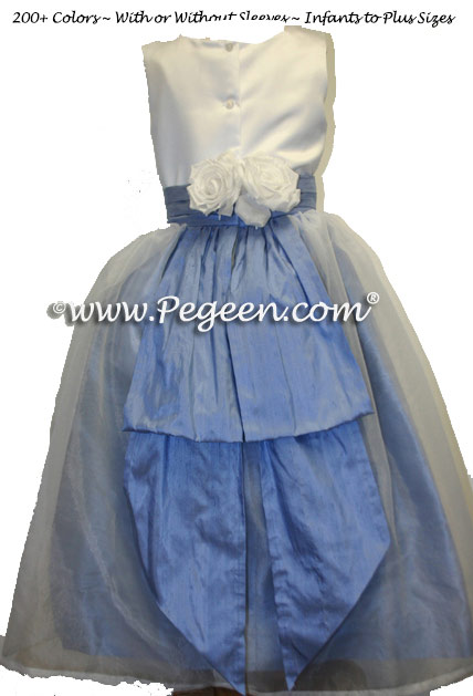 Ocean Blue and White Custom Flower Girl Dresses with Back Flowers