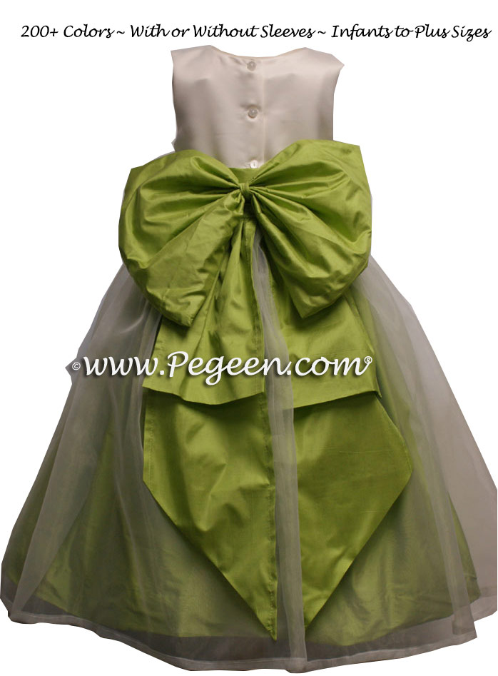 CITRUS GREEN AND WHITE SILK FLOWER GIRL DRESSES Style 394