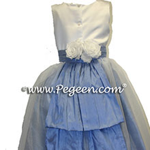 ocean BLUE AND chocolate brown Flower Girl Dresses