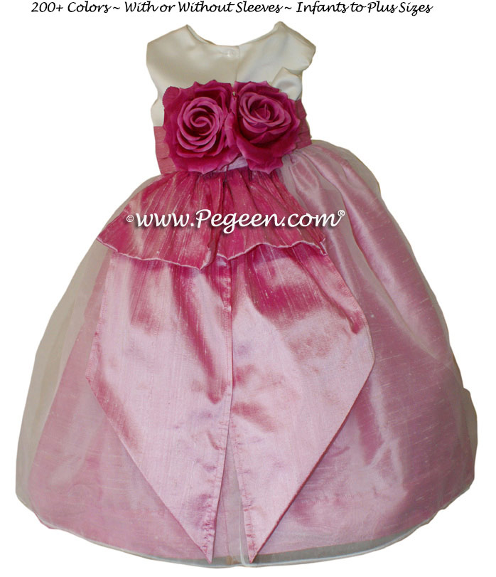 Rose Pink and Ivory Satin Flower Girl Dresses Style 350