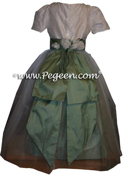Celedon Green and White Silk Custom Flower Girl Dresses Style 313