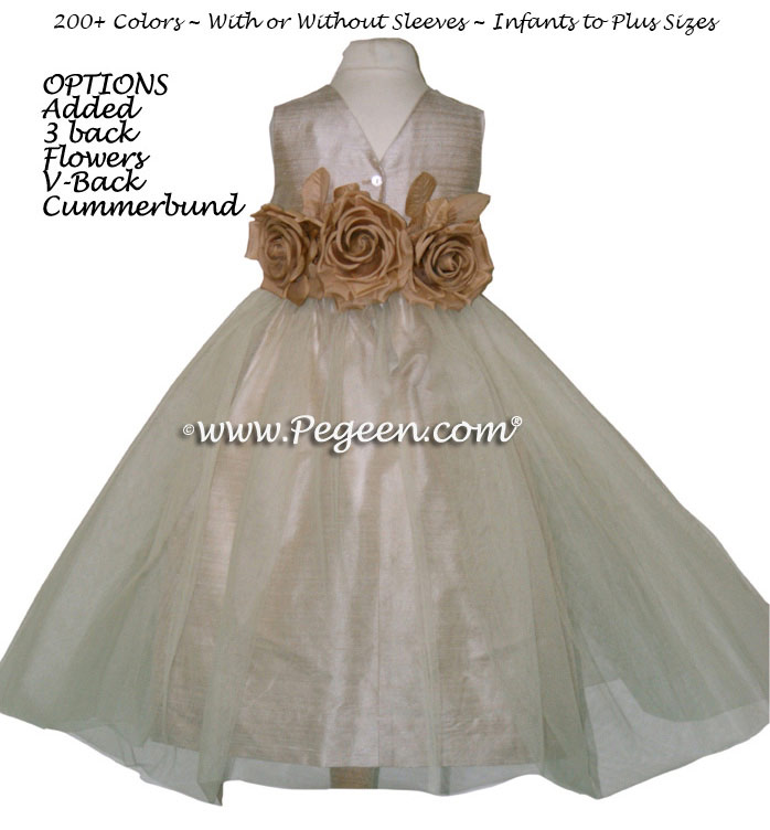 Toffee Silk and Tulle Flower Girl Dresses with added back flowers