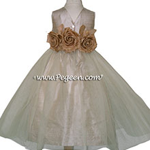 Toffee Silk Flower Girl Dresses Style 335 from Pegeen