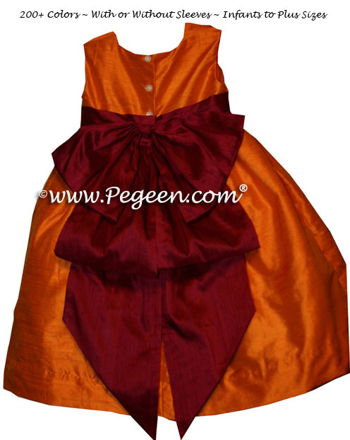 Infant Flower Girl Dress Tangerine and Cranberry Silk Cinderella Bow  | Pegeen