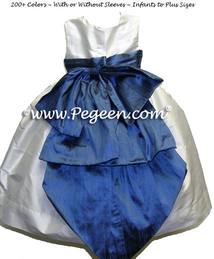 Antique White and Storm Blue flower girl dress or Junior Bridesmaids dresses by Pegeen