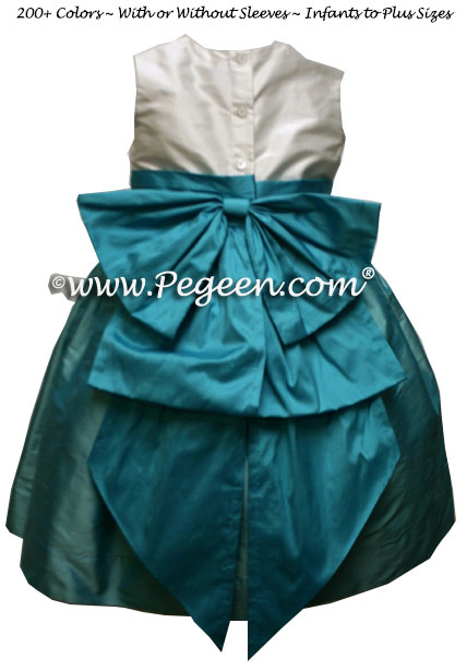 Antique White, Tiffany blue and turquoise silk infant Flower Girl Dress Style 345