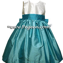 tiffany blue and white and turquoise silk toddler dresses