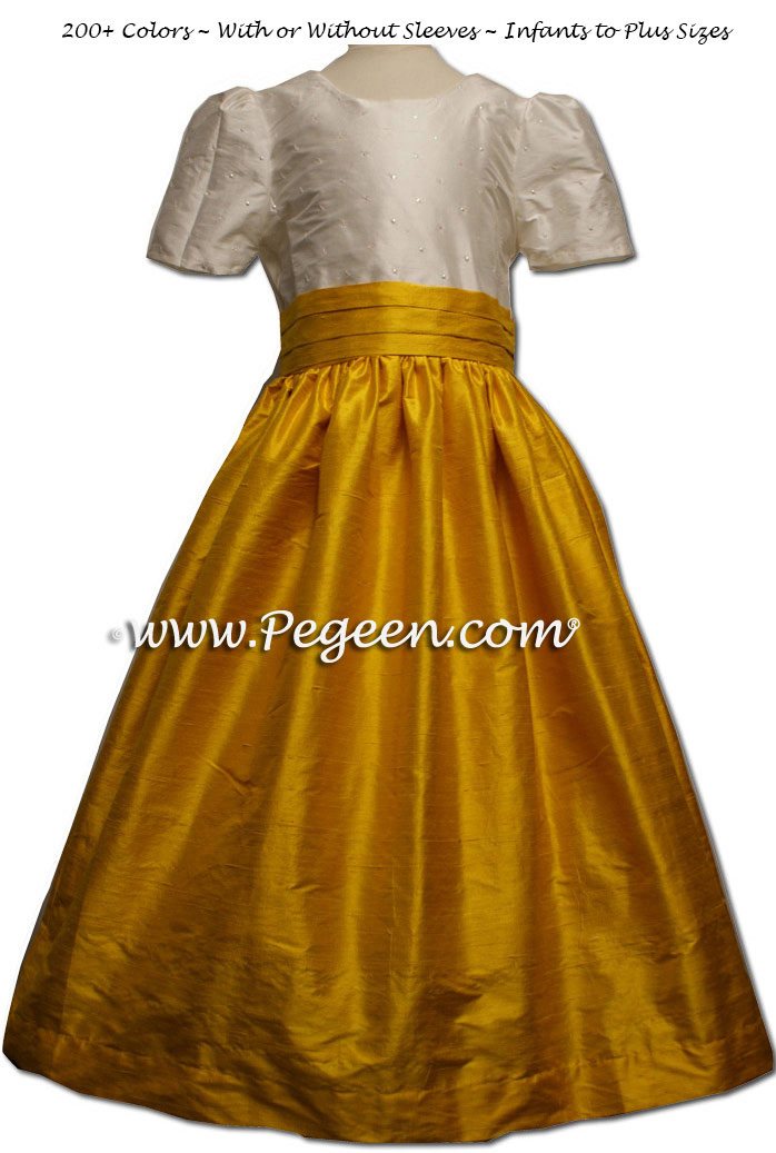Flower girl dress in White Sequins and Mustard or Goldenrod Yellow Silk | Pegeen