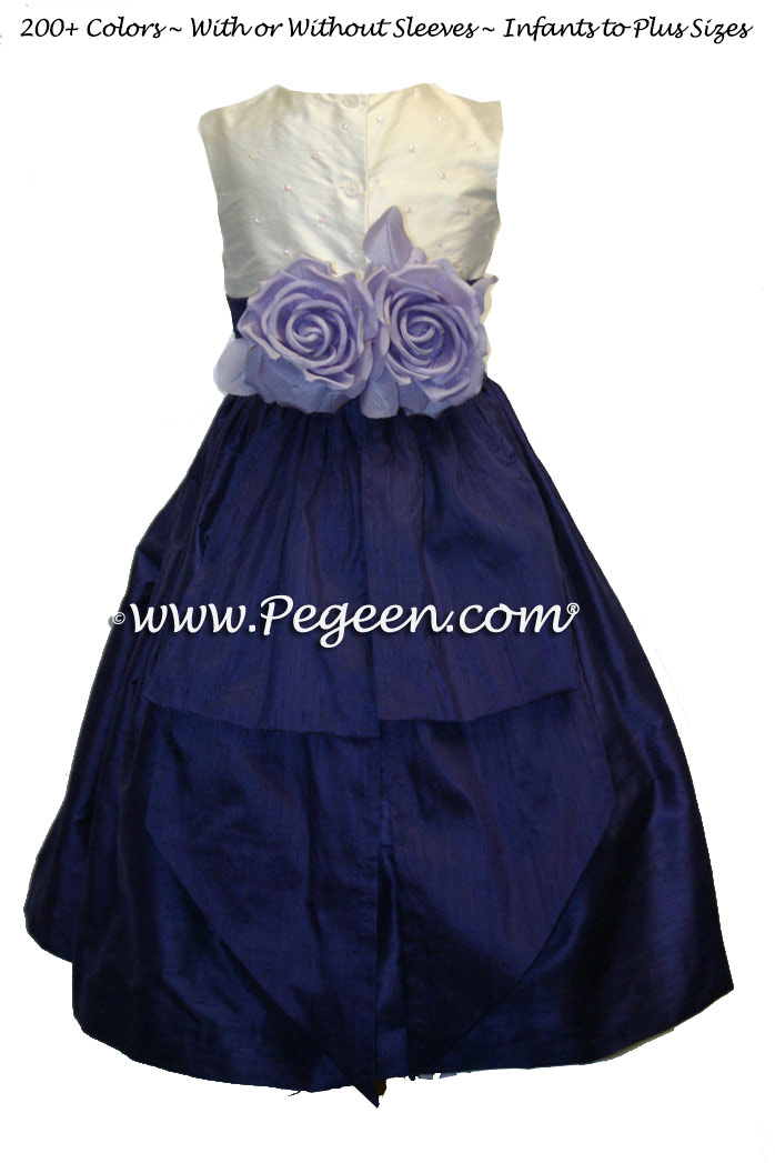 Flower GIrl Dress with White Hand Sewn Pearls with Grape Silk Sash and Skirt