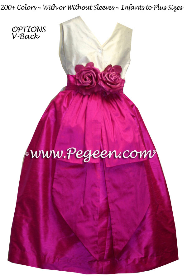 Boing or fuschia pink junior bridesmaids dress with diamond sequins and flowers