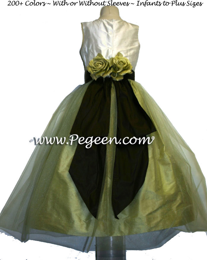 Ivory sequinned, celery green and chocolate brown Silk Flower Girl Dresses Style 313