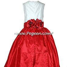 CHRISTMAS RED AND IVORY Flower Girl Dresses with Pearls AND SILK IN PEGEEN STYLE 355