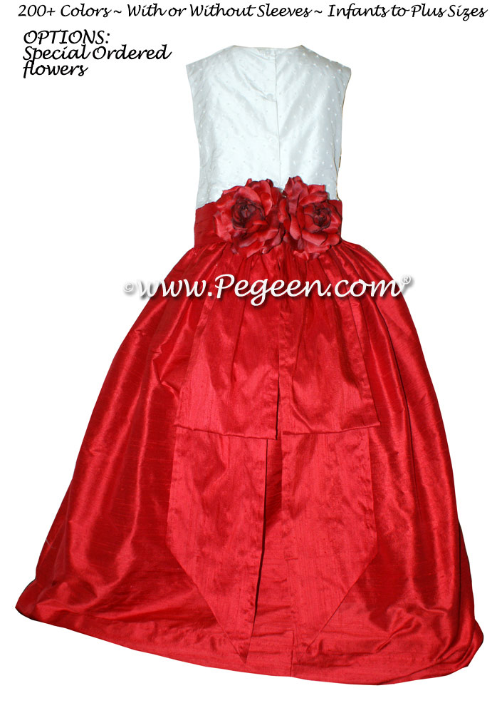 Flower Girl Dresses Christmas Red and Ivory with Bustle and Pearls | Pegeen