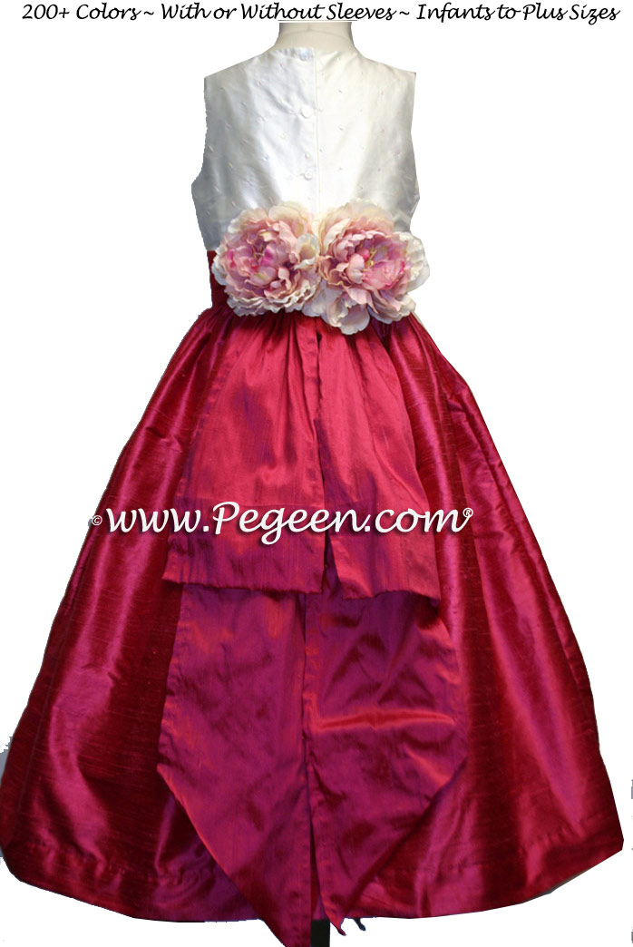 Flower Girl Dress Lipstick Pink and Sequin with Special Flowers | Pegeen