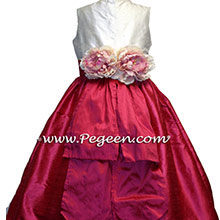 lipstick pink flower girl dress with sequins