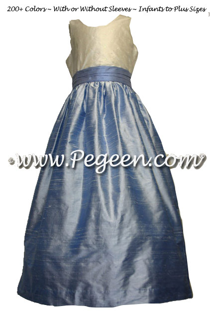 Ocean Blue and Denim Blue silk junior bridesmaids dress with Sequined Bodice and V-Back