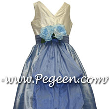 Denim blue flower girl dresses