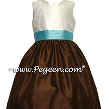 chocolate brown and lime green silk junior bridesmaids dresses