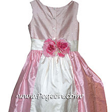 Hibiscus Pink silk custom flower girl dresses