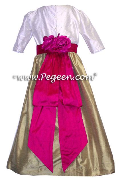Sequinned bodice, three quarter sleeves raspberry and apple green flower girl dresses