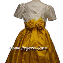 mustard yellow flower girl dresses