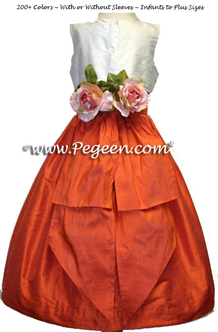 Ivory and orange flower girl dresses Pegeen style 355