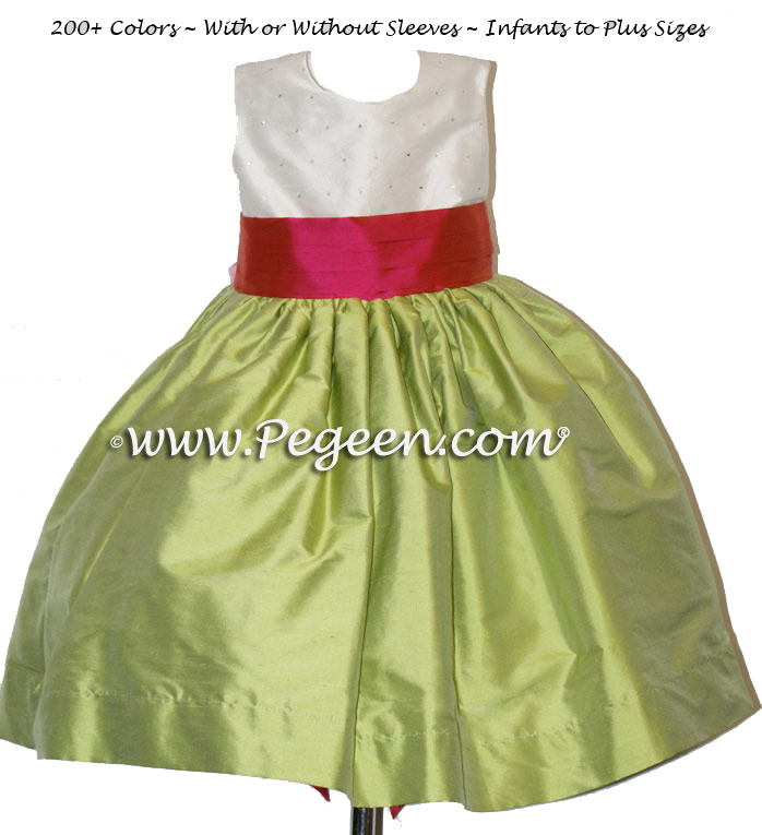 Sprite Green and Sorbet Pink and Sequined infant silk flower girl dress