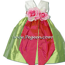 Sorbet pink and sprite green silk flower girl dresses