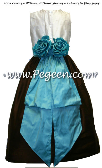 Chocolate brown and tiffany silk junior bridesmaids dress with sequinned silk bodice