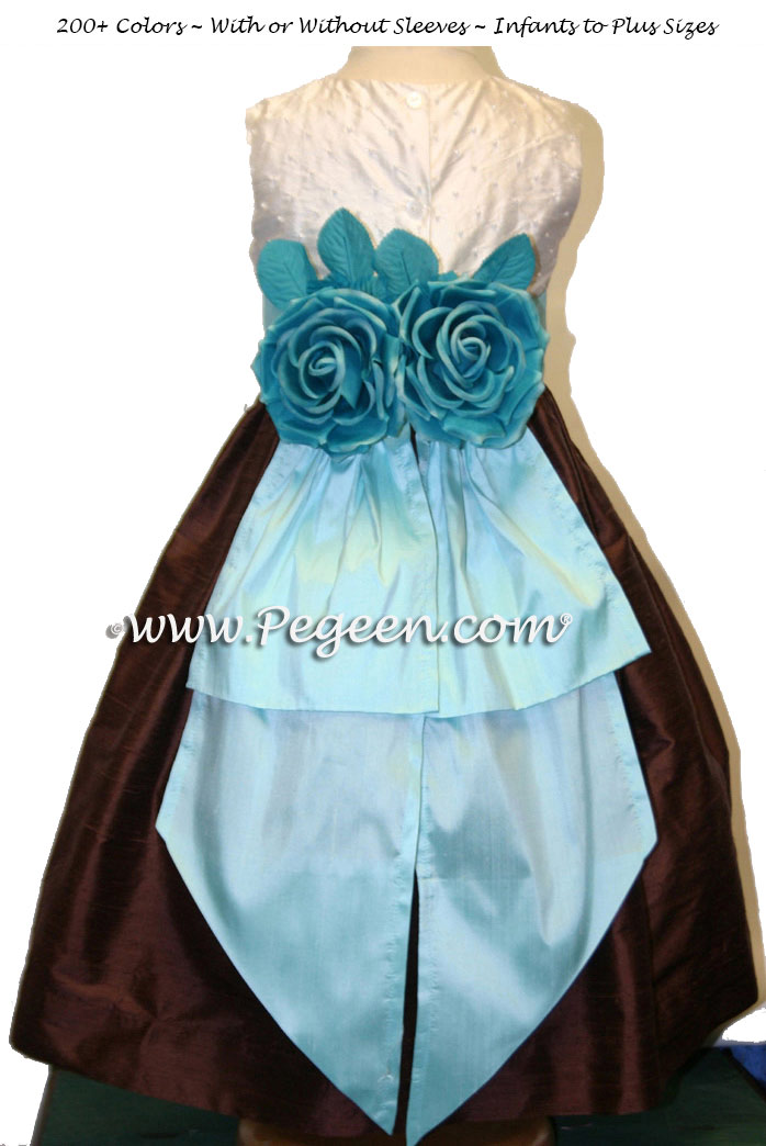 chocolate brown and tiffany silk junior bridesmaids dress