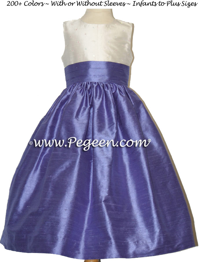 Viole junior bridesmaids dress with diamond sequins and flowers