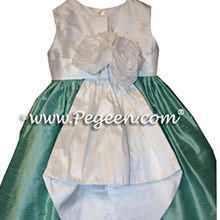 aqua and white silk FLOWER GIRL DRESSES