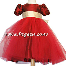 red and gold tulle flower girl dresses