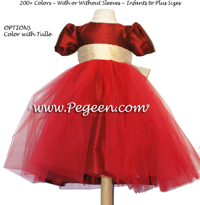 Claret red and pure gold Tulle custom flower girl dresses