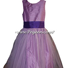 Amethyst and Purple Heart silk and tulle flower girl dress style 356 BY PEGEEN