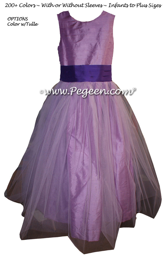 Silk Flower Girl Dress Style 356 in Amethyst with Purple Heart Sash | Pegeen