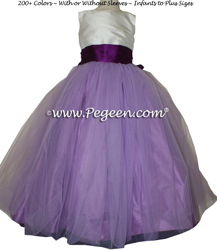 Silk flower girl dress in White, Amethyst Purple and Berry | Pegeen
