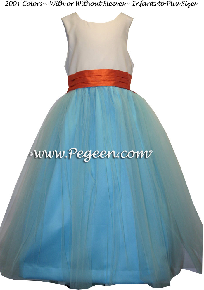Orange and Bahama Breeze blue silk and tulle flower girl dress to match Ann Taylor