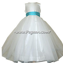 Bahama Breeze and White tulle flower girl dress with tulle skirt