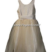 Bisque (creme) TULLE JUNIOR BRIDESMAID DRESS