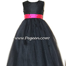 black and cerise (hot pink) TULLE JUNIOR BRIDESMAID DRESS