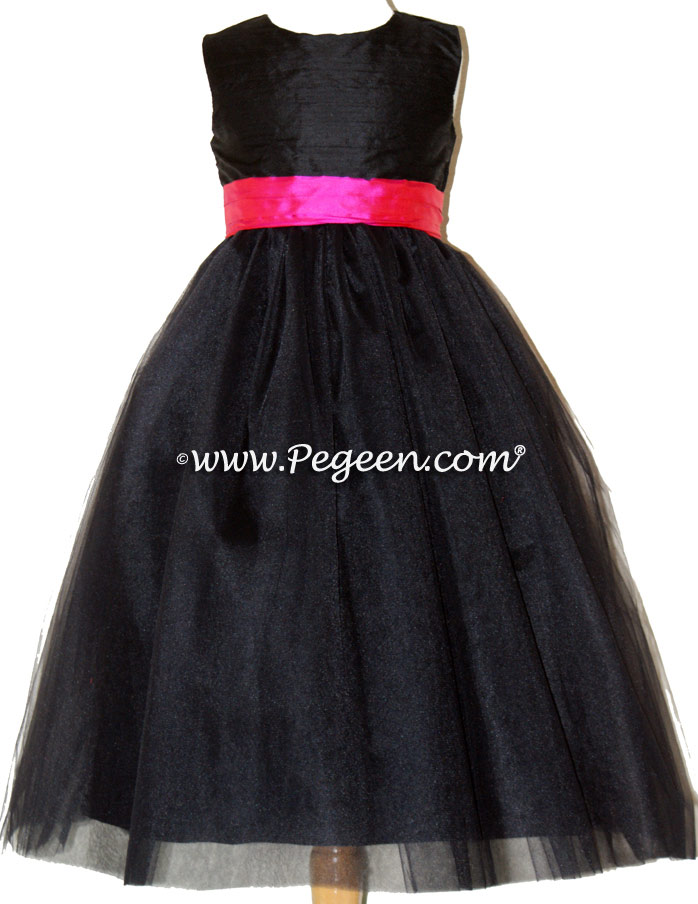 Style 356 in Black and shock pink silk and tulle flower girl dresses