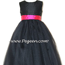 Black silk, Shock Pink with Black tulle dress- flower girl dresses