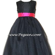 Black silk, Shock Pink with Black tulle dress- flower girl dresses