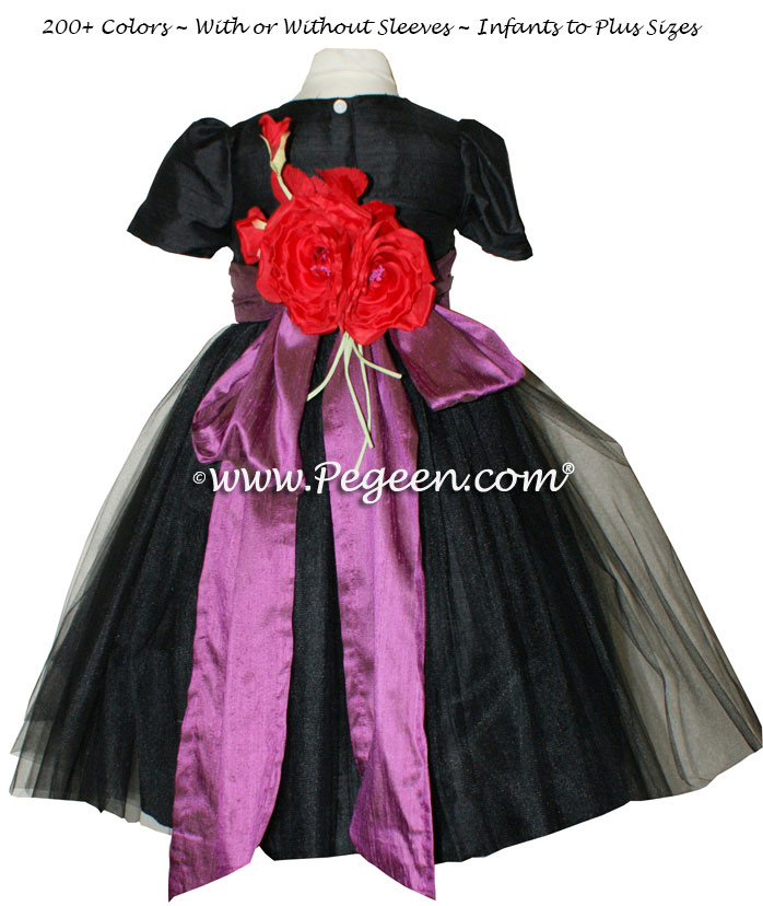 black and Thistle (purple) Tulle Flower Girl Dresses
